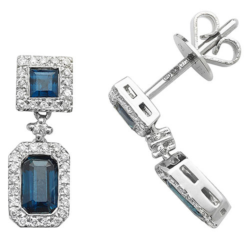 9CT WHITE GOLD DIAMOND AND SAPPHIRE DROP EARRINGS