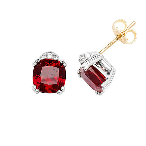 9CT YELLOW GOLD RH PLATED STUD EARRINGS CUSHION CREATED RUBY & WHITE SAPPHIRE