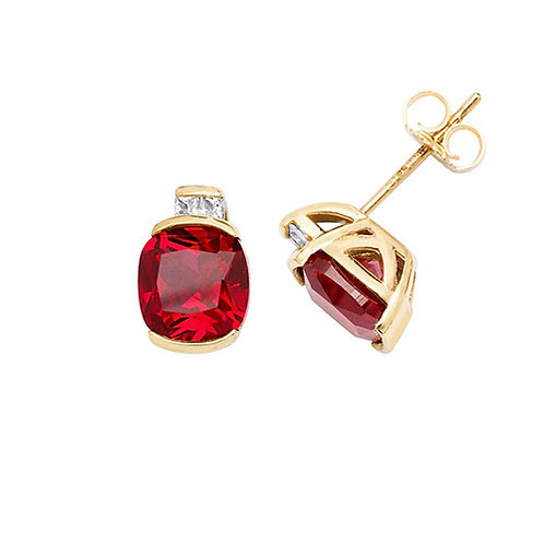 9CT YELLOW GOLD STUD EARRINGS CUSHION CREATED RUBY & WHITE SAPPHIRE