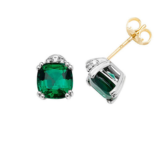 9CT YELLOW GOLD RH PLATED STUD EARRINGS CUSHION CREATED EMERALD & WHITE SAPPHIRE