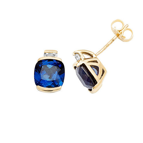 9CT YELLOW GOLD STUD EARRINGS CUSHION CREATED SAPPHIRE & WHITE SAPPHIRE