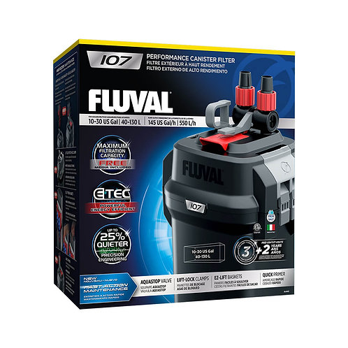 Fluval 107 Performance Canister Filter, up to 30 US Gal (130 L)