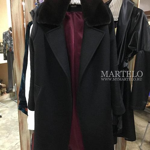 Пальто из кашемира со съемным воротником из норки