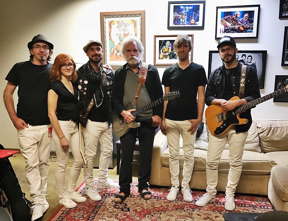 American Babies and Bob Weir. From Left: Mark Sosnoski, Raina Mullen, Tom Hamilton, Weir, Al Smith, Justin Mazer.