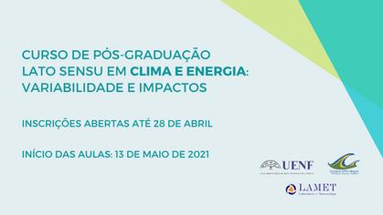 LAMET abre inscrições para curso de pós-graduação em Clima e Energia