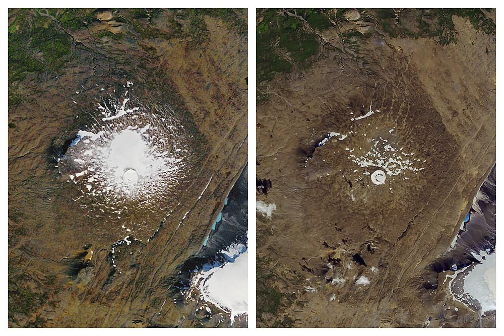 À esquerda, a geleira Okjokull, na Islândia, em uma foto de setembro de 1986, quando ela ocupava 3 km² quadrados. À direita, a mesma geleira em agosto de 2019, com menos de 1 km² — Foto: Nasa/AP