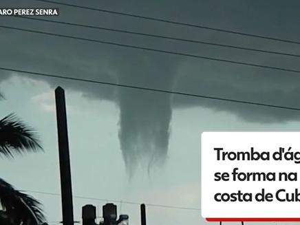 Tromba d'água se forma na costa de Cienfuegos, em Cuba; veja vídeo