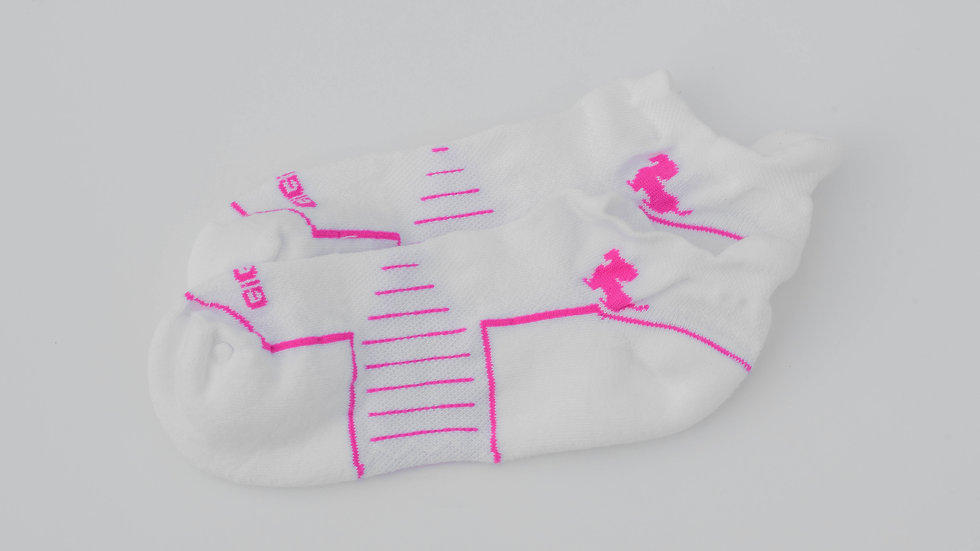Athletic Ankle White with Hot Pink