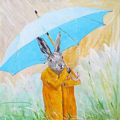 Umbrella Hare - Greeting Card