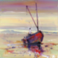 Peter Tarrant Scottish Landscape Artist/Painter Scottish Puffer Boat on the Sands