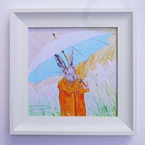Umbrella Hare - Framed Canvas Print