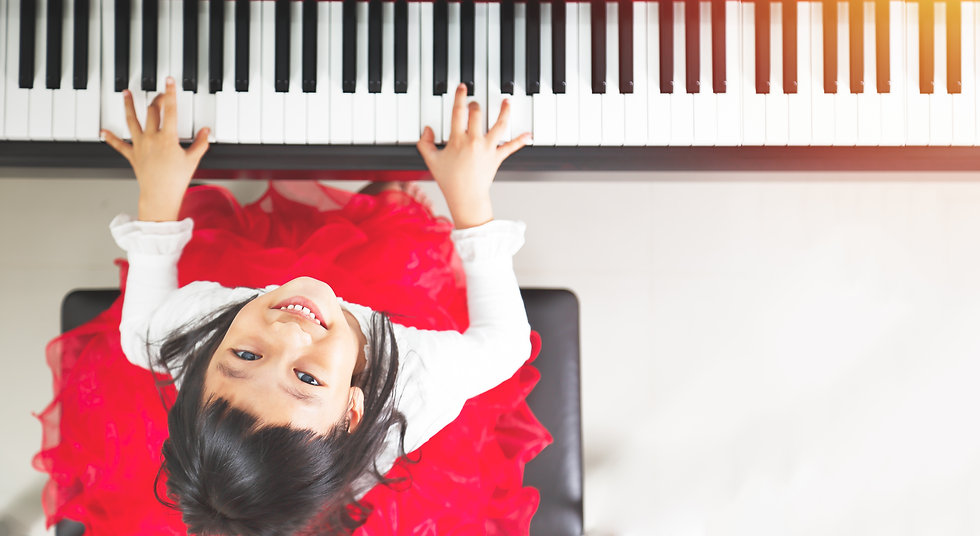 Little asian girl happy to play piano.jp