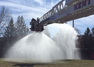 KVFD Tower 1 spraying