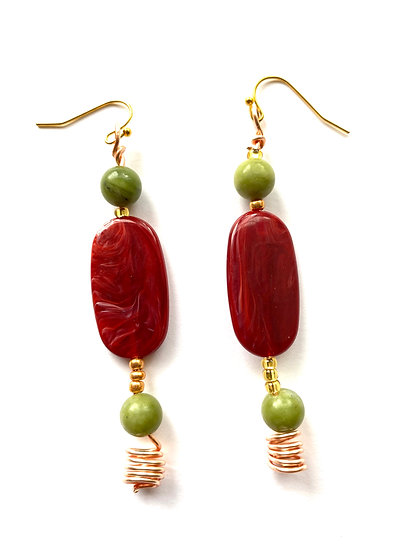 Rusty Red & Green copper wire earrings