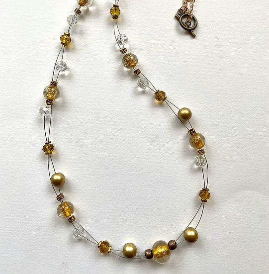 Gold colored glass stone - Floating necklace
