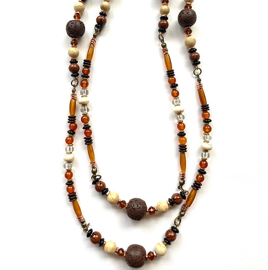 Double strand brown & rust colored necklace