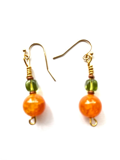 Orange & green stone earrings