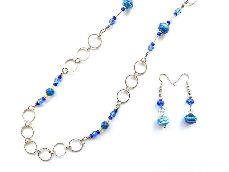 Blue  multi colored stone necklace with matching earrings
