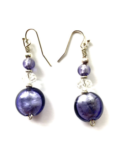 Purple glass stone earrings