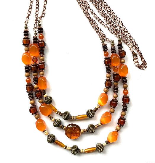 Triple strand brown & orange stone with copper accents