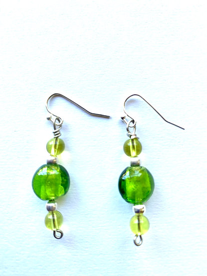 Green glass Stone earrings