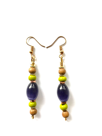 Purple & Green stone with copper accents