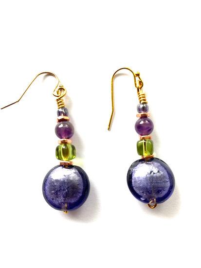 Purple & Green stone earrings