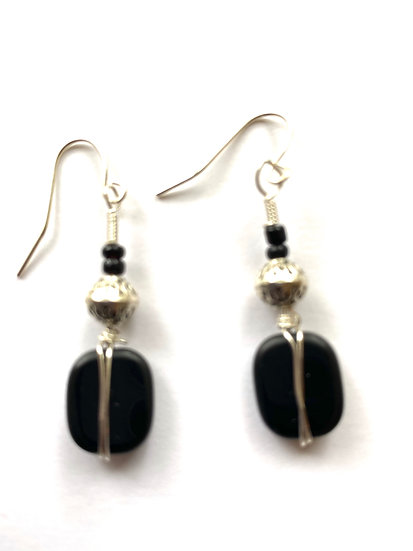 Black stone with silver wrap earrings