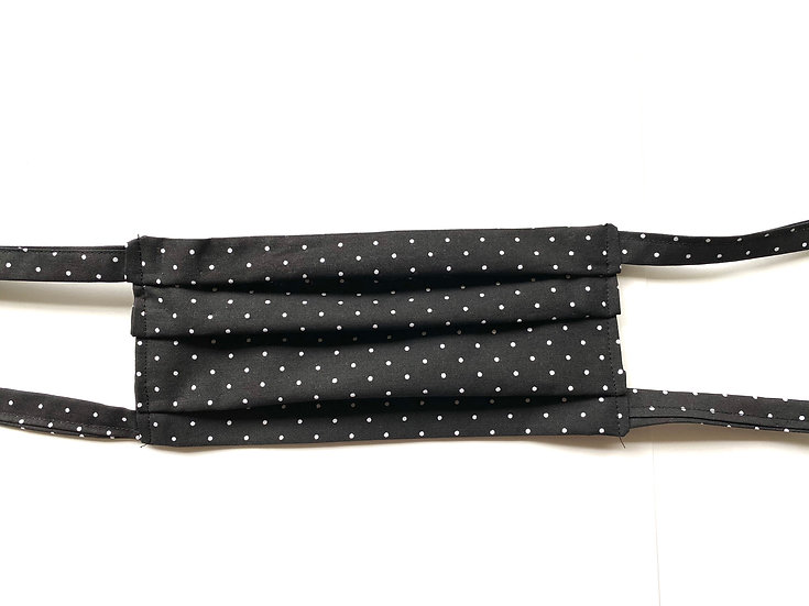 Adult Black polkadot cloth mask with ties & a pocket - 100% cotton