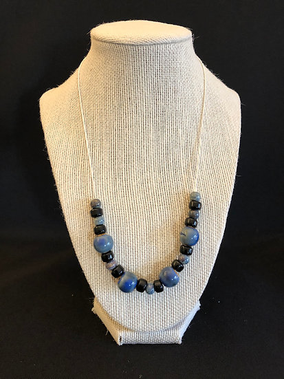 Blue & Black Beaded Necklace
