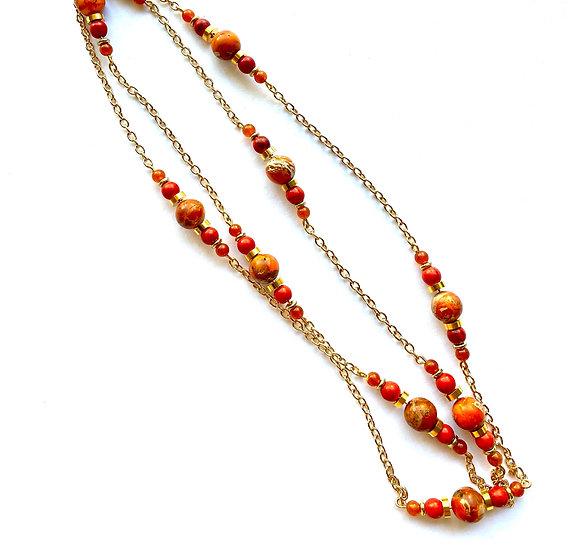 Double strand Orange stone necklace