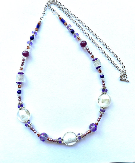 Purple & White glass stone - 32 inches in length