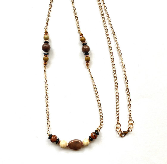 Bronze & brown stone necklace