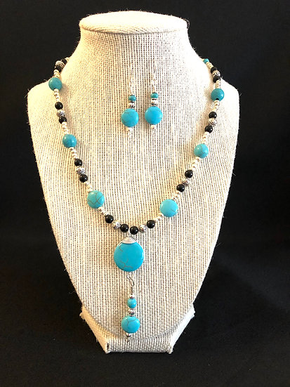 Turquoise & black stone necklace with matching earrings