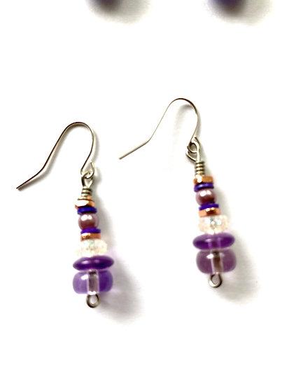 Purple drop earring