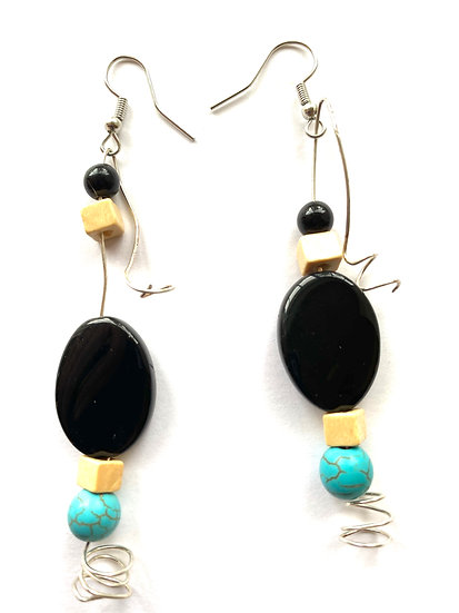 Black & Turquoise with silver wire