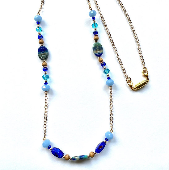 Multi blue colored necklace