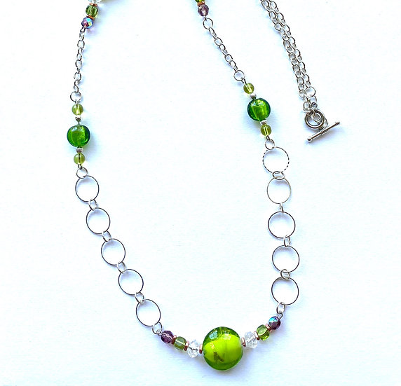 Green glass stone necklace - 34 inch  in length
