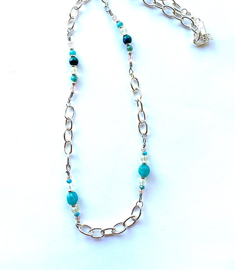 Teal & Silver necklace