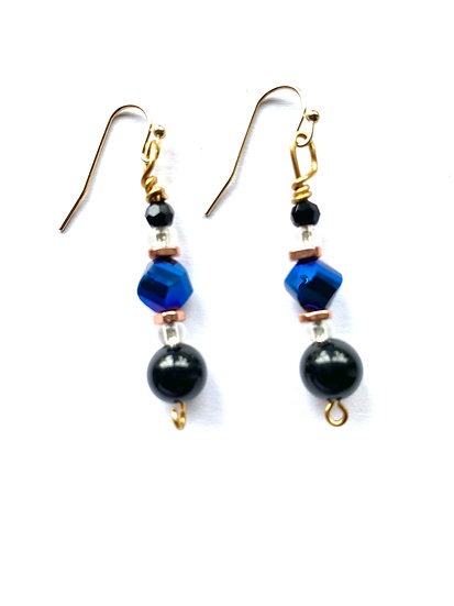 Blue & Black stones with copper accents