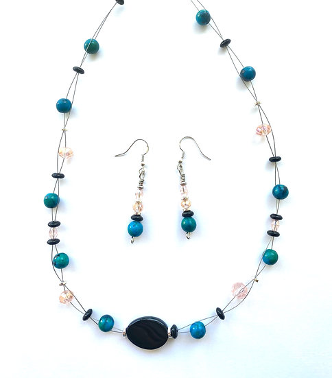 Black & Teal necklace with matching earrings