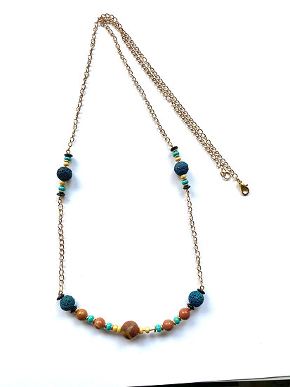 Blue, Brown, Turquoise stone necklace