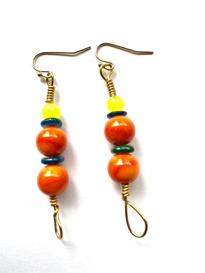 Orange & Yellow stone earrings