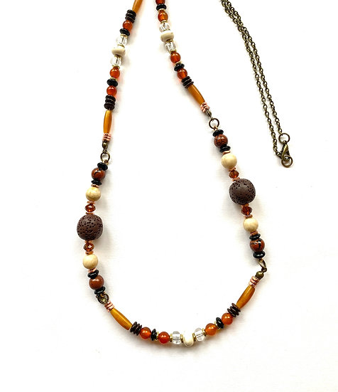 Brown & orange stone necklace