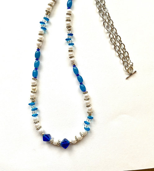 Blue & white stone with silver necklace