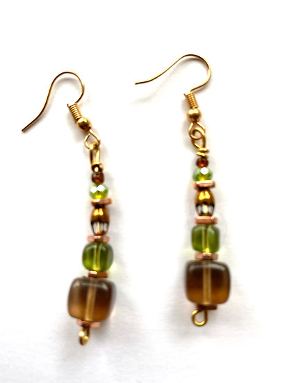 Brown & Green glass stone earrings