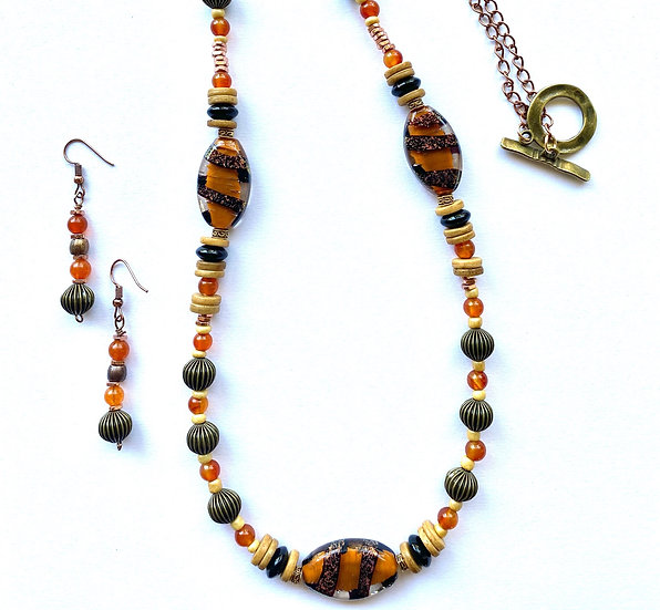 Brown tiger glass stone with bronze accents - 32 inch length necklace