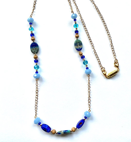 Blue crystal stone bead with gold chain necklace