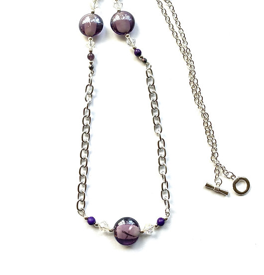 Purple glass stone necklace with silver chain