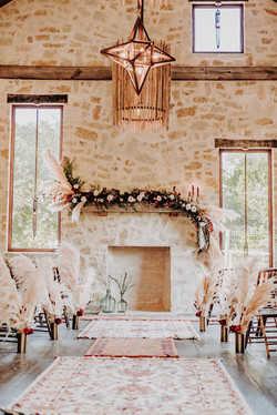Aisle with fireplace